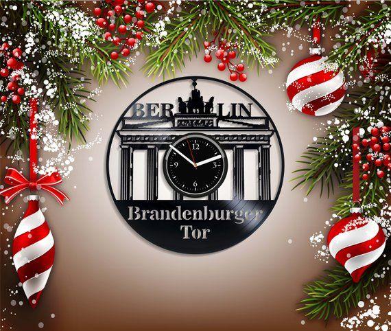 Brandenburger Tor Wall Clock Berlin City Wall Art Christmas Gift Retro Clock Birthday Gift Vintage Viny Retro Wall Clock Art Christmas Gifts Vintage Wall Clock