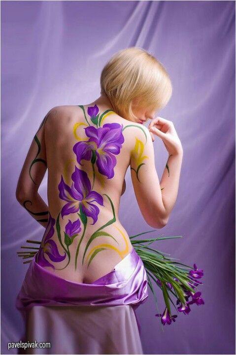 purple iris  body painting