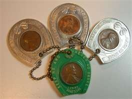 Vintage Lucky Charm Wheat Penny Horseshoe Key Chains Completed 1930's