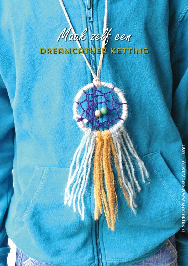 Maak je een dromenvanger ketting. Leuk voor een indianenfeestje. Lees hier hoe je de ketting maakt.