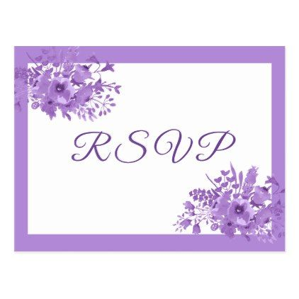 RSVP wedding postcard ultra violet flowers - purple floral style gifts flower flowers diy customize unique