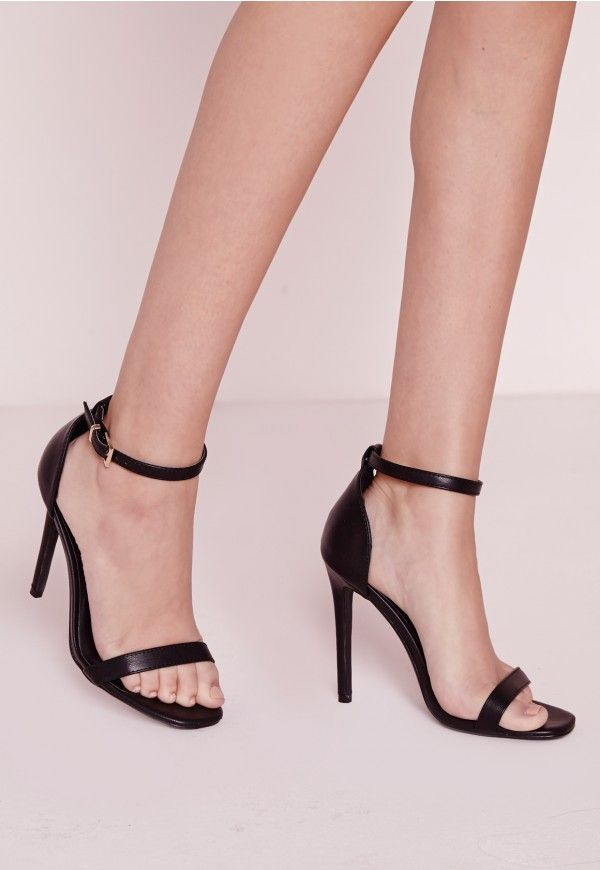 Barely There Strappy Heeled Sandals Black - Shoes - High Heels - Missguided