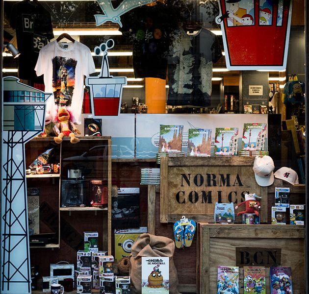 Detalle #escaparate #monografico Todo sobre #Barcelona - Norma Comics