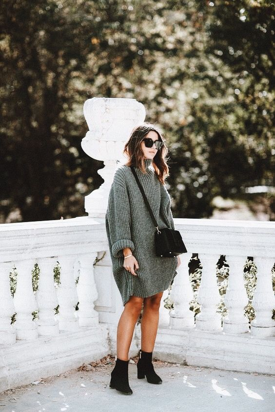 turtleneck green knit sweater dress, black crossbody purse, black booties, and sunglasses | women's fashion and style