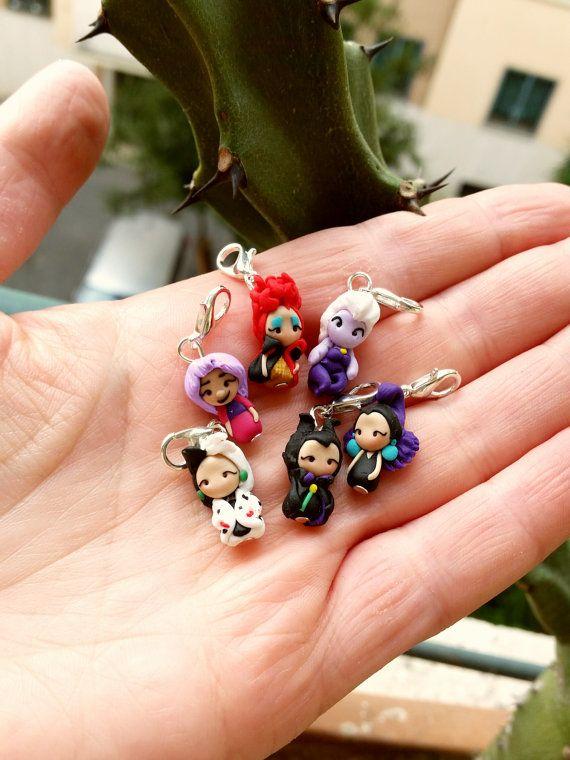 Disney villain charm inspired , clay stich markers , Maleficent,Mad Madame Mim,Cruelle, Red Queen ,Ursula,Yzma,Grimilde . Disney Clay charm