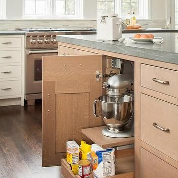 Wire Brushed Oak Kitchen Cabinets, Transitional, Kitchen