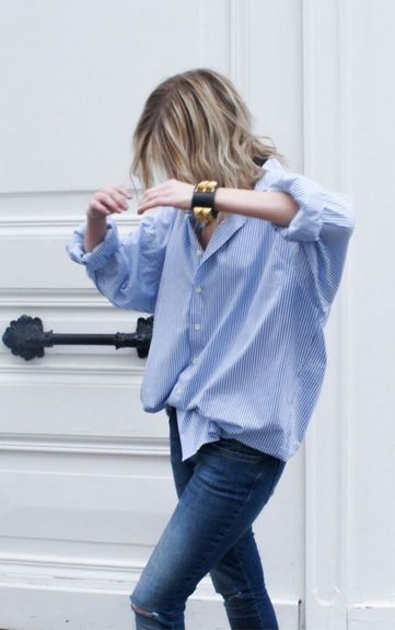 Oversized blue striped shirt Rock