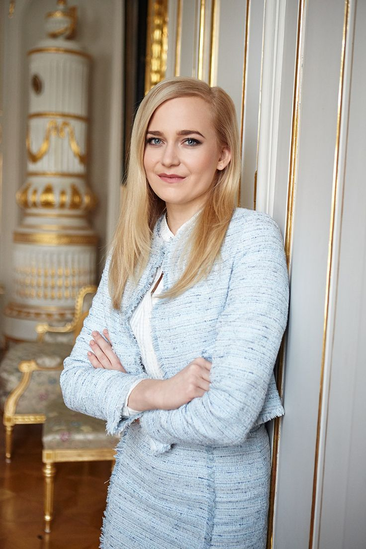Vladimira Ledecka, from team of the President of Slovak republic in Ivana Rosova outfit for an exclusive interview at SME Zeny ! Vladimira looks absolutely stunning and chic in light blue tweed blazer and skirt with white silk blouse. |  #MyIRFG  |  #IWearIvanaRosova  |  www.ivanarosova.com