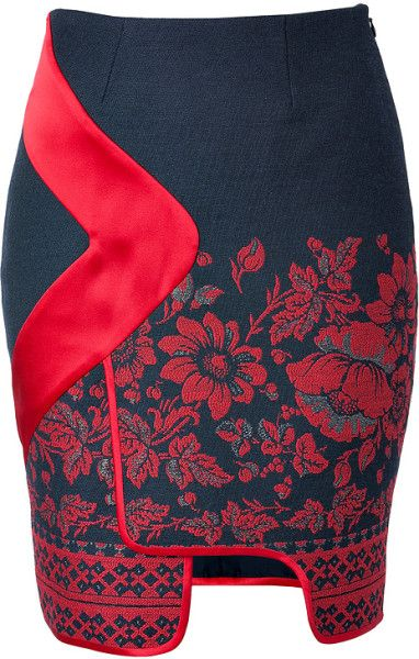 Piped Border Panel Skirt in Red Floral Print - Lyst