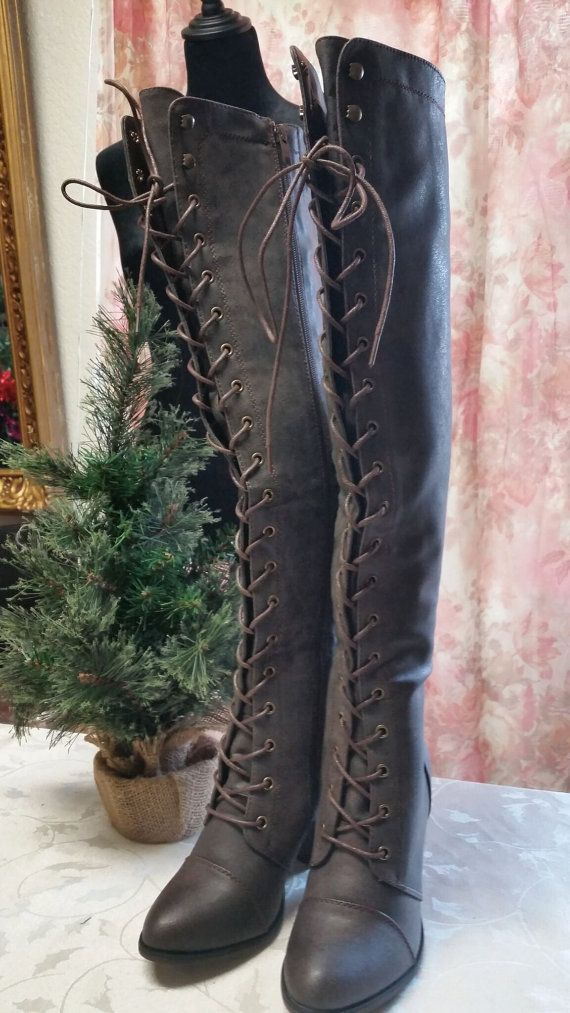 Bohemian Lace Up Goddess~Gypsy Cafe Brown Lace Up Boots 6 1/2 by VenusLoveJewels
