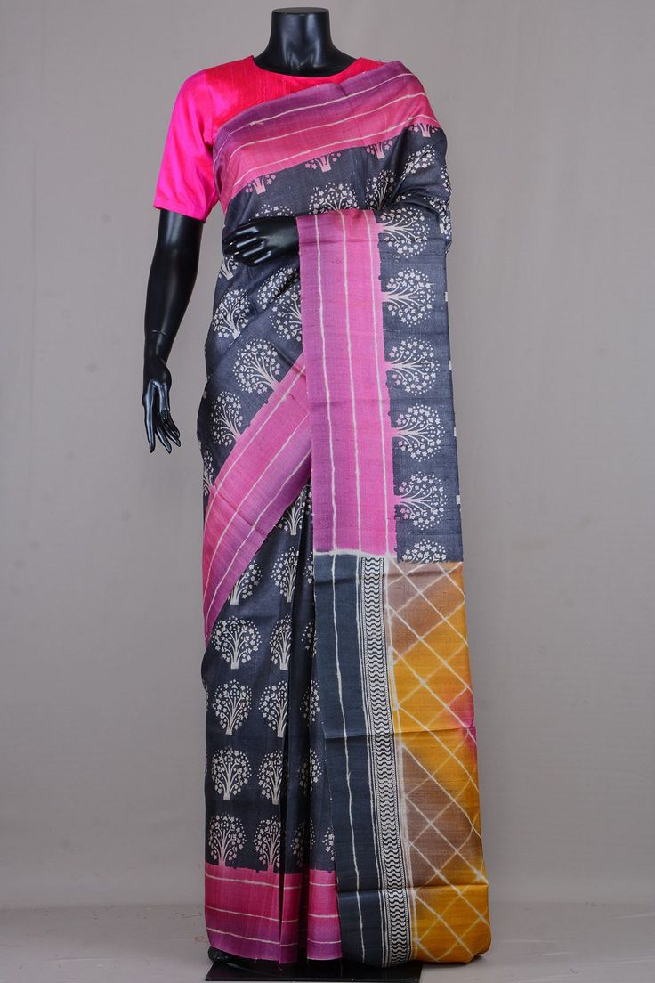Charcoal Grey & Offwhite Tussar Silk Printed Saree-VE3533