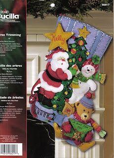 Como hacer Manualidades para Navidad: Patron para Bota de Navidad Santa con arbolito