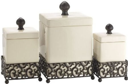 Amazon.com: Set of 3 Attractive Ceramic Canisters in a Metal Base: Home & Kitchen