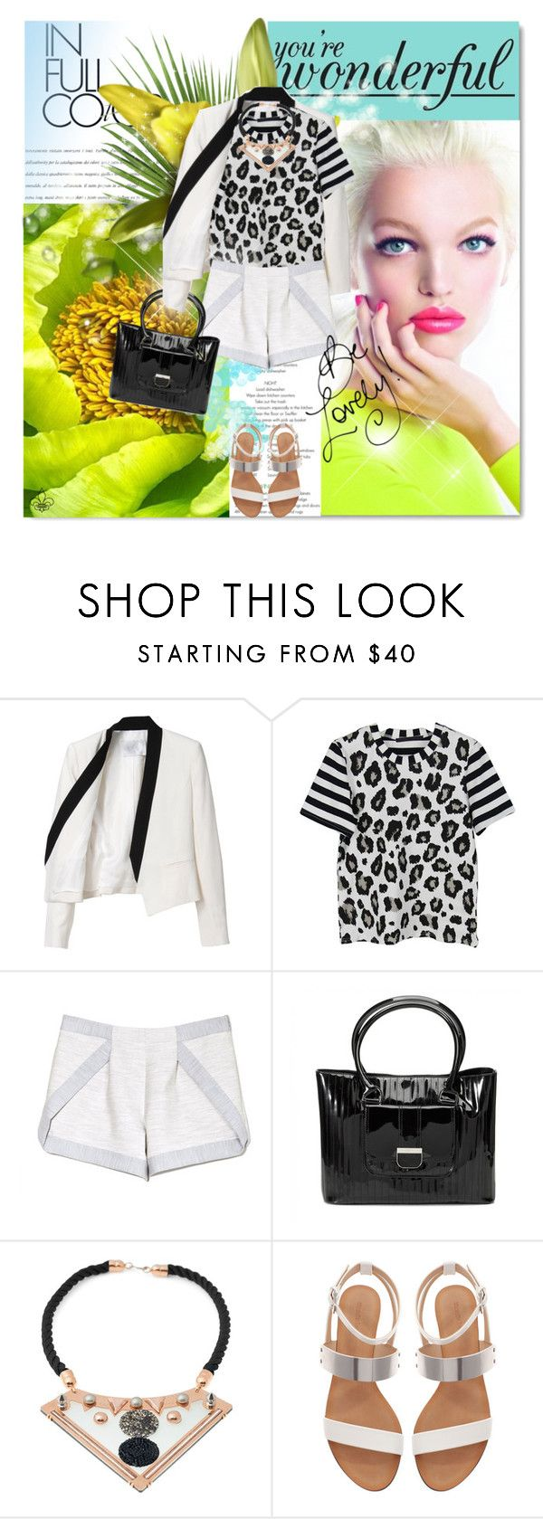 """Be Lovely"" by hatsgaloore ❤ liked on Polyvore featuring A.L.C., Thakoon Addition, Ted Baker, Cabinet, Zara, shorts, sandals, blackandwhite, blazer and animalprint"