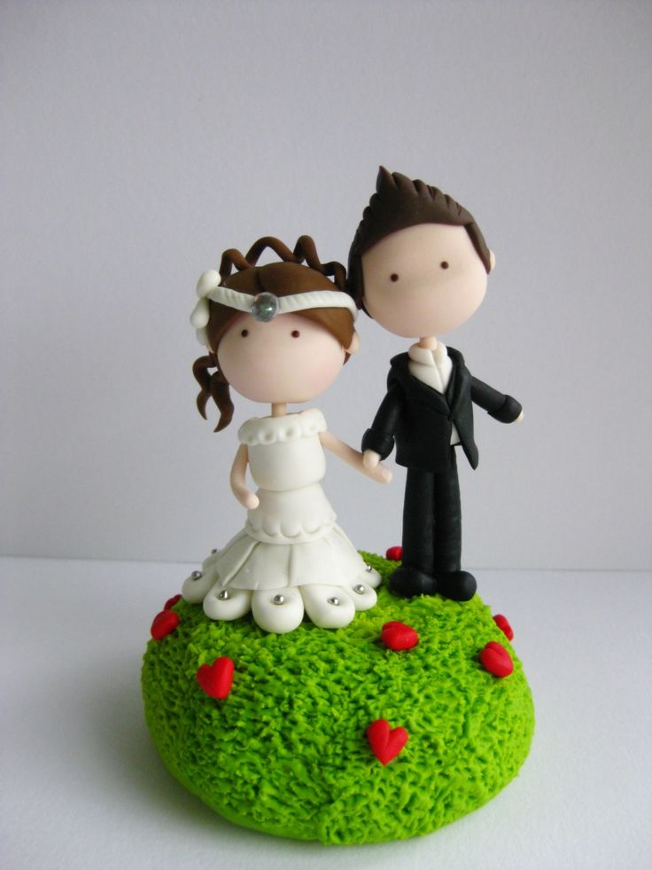 Wedding Clay Cake Topper - Garden of Love (Not Editable)
