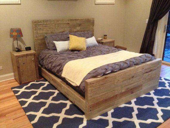 Reclaimed wood bedroom set queen bed frame  2 by witusik2000, $1599.00