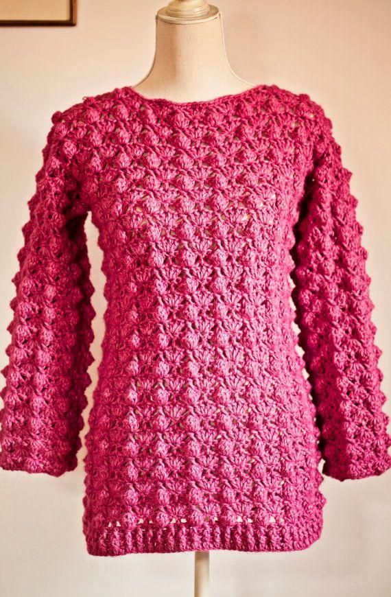 Instant download Crochet cardigan PATTERN pdf;- Ladies Popcorn Sweater $4.99 USD  by monpetitviolon
