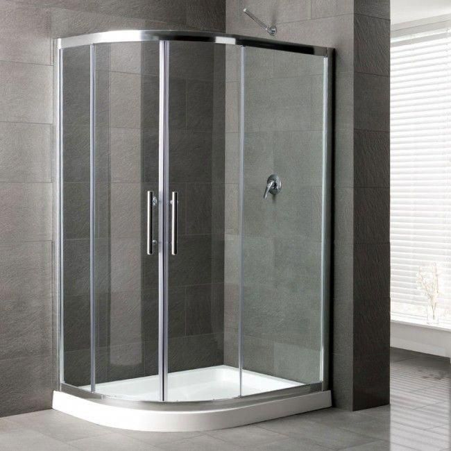 Camaro Corner Shower Enclosure 1200 X 700mm Left Handed Offset Curved Tray And Quadrant Enclosur With Images Corner Shower Corner Shower Enclosures Bathroom Shower Panels