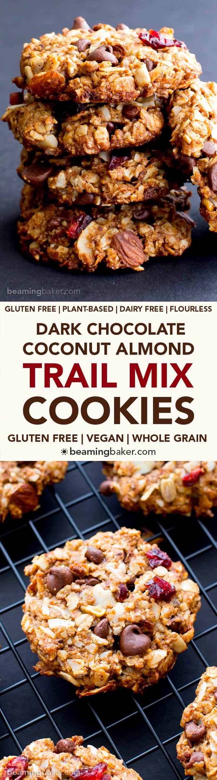 Dark Chocolate Almond Coconut Trail Mix Cookies (V, GF, DF): an easy recipe for deliciously textured chewy trail mix cookies bursting with chocolate, almond and coconut. #Vegan #GlutenFree #DairyFree   BeamingBaker.com
