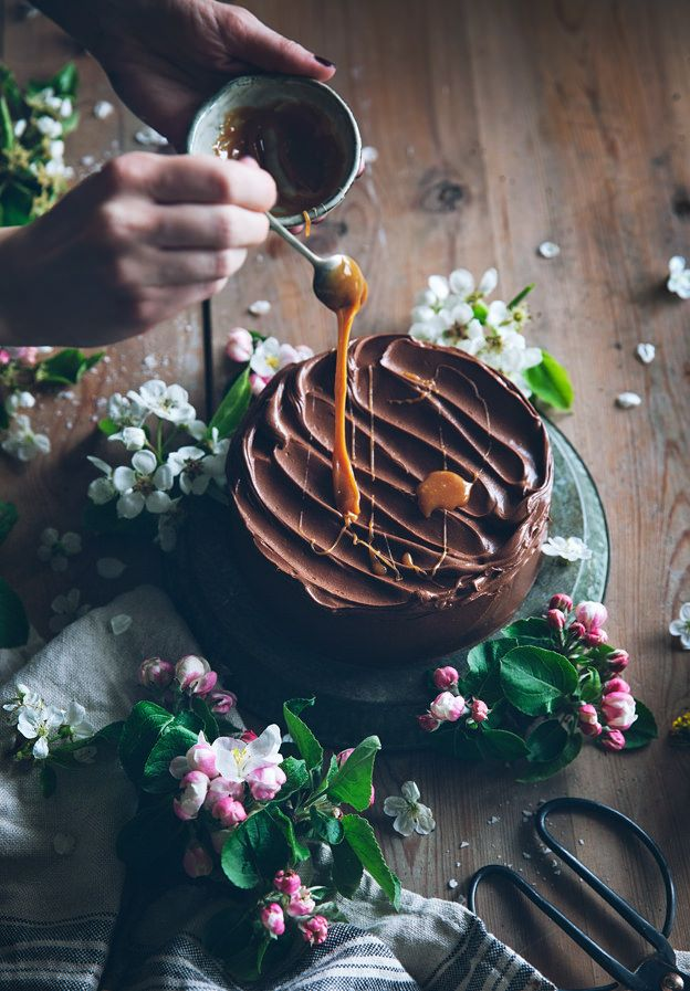 ... gluten-free almond cake with chocolate fudge frosting and salted caramel ...