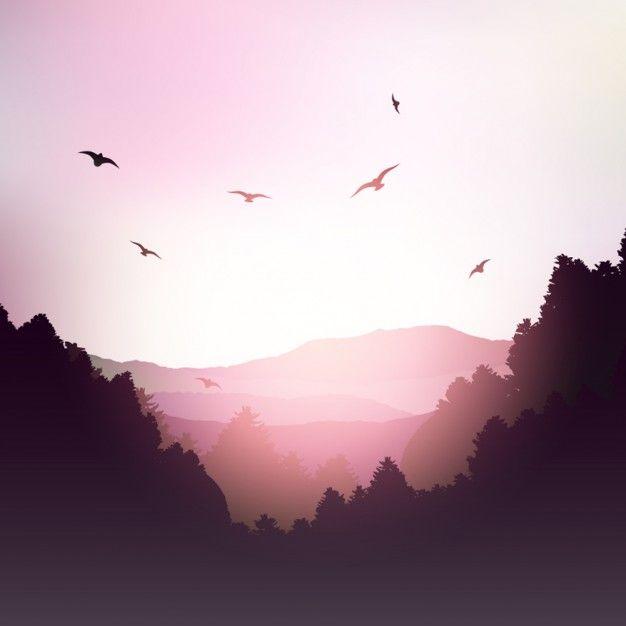 Paisagem da montanha em tons rosa Vetor grátis