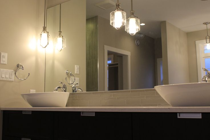 Modern Vanity with Vessel Sinks and Pendant Lighting