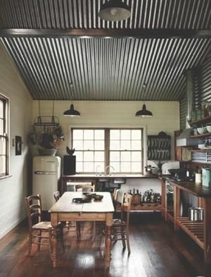 corrugated metal for interior walls/ceilings | ... Chic Corrugated Tin | Atticmag | Kitchens, Bathrooms, Interior Design by AislingH