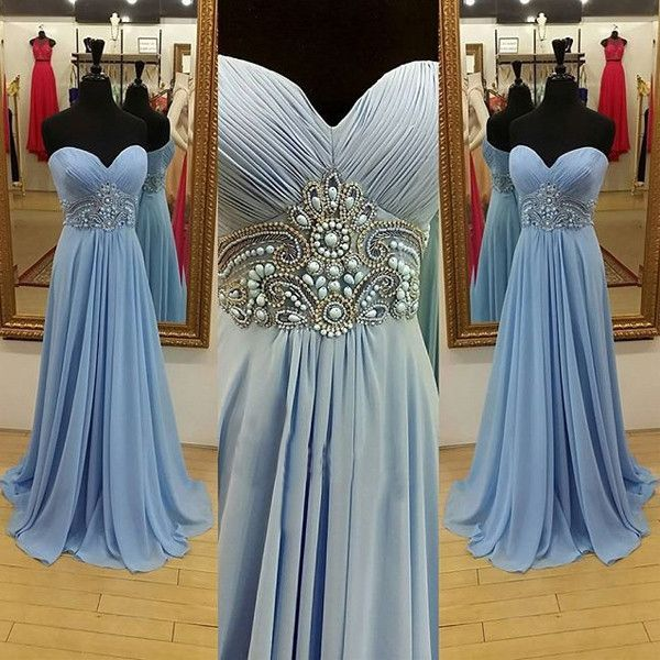 Blue Prom Dresses 2017 Sweetheart Beading A-line Chiffon