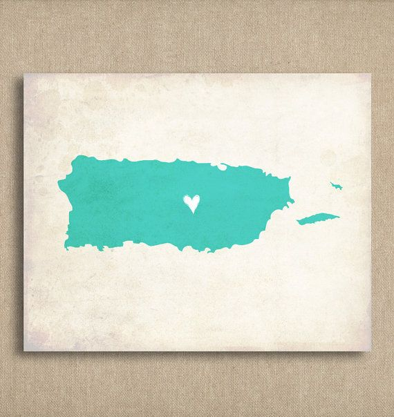 Puerto Rico Love Country Customizable Art Print by mereleemade, $16.00 8 x 10, many color choice