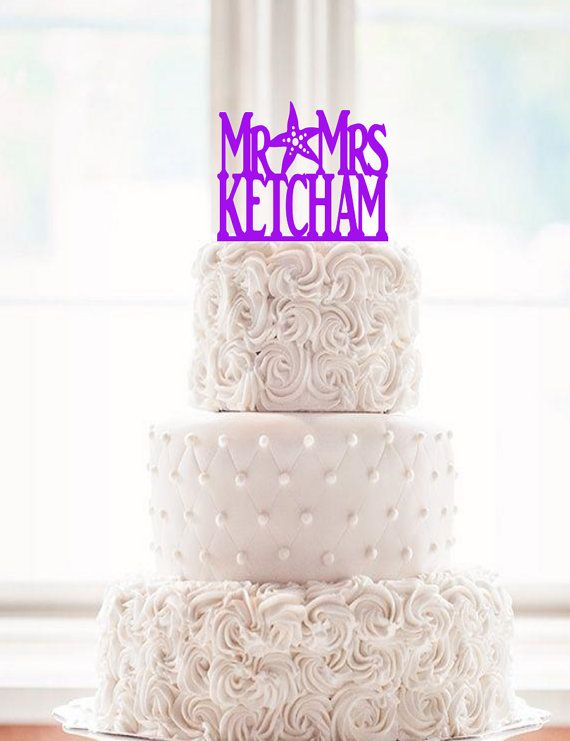 Surname Star Fish Wedding Cake Topper Starfish By 1TheCherryOnTop