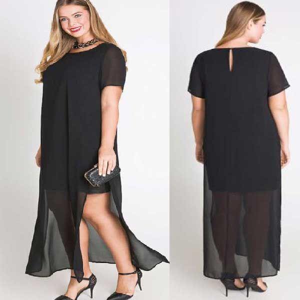 Черное платье из шифона PLUSE SIZE