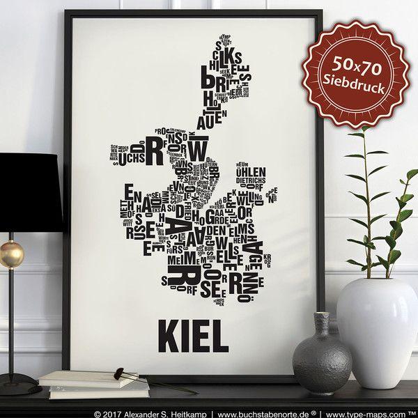 Siebdruck - Kiel Siebdruck Poster Typografie - ein Designerstück von buchstabenorte bei DaWanda
