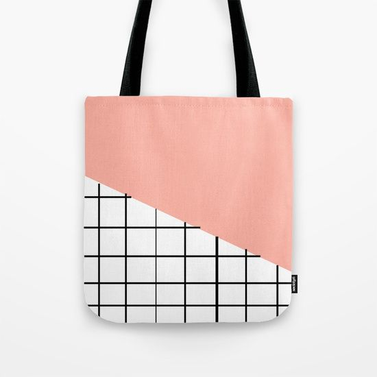 Grid and Pink Sky Tote Bag by Bravely Optimistic   Society6