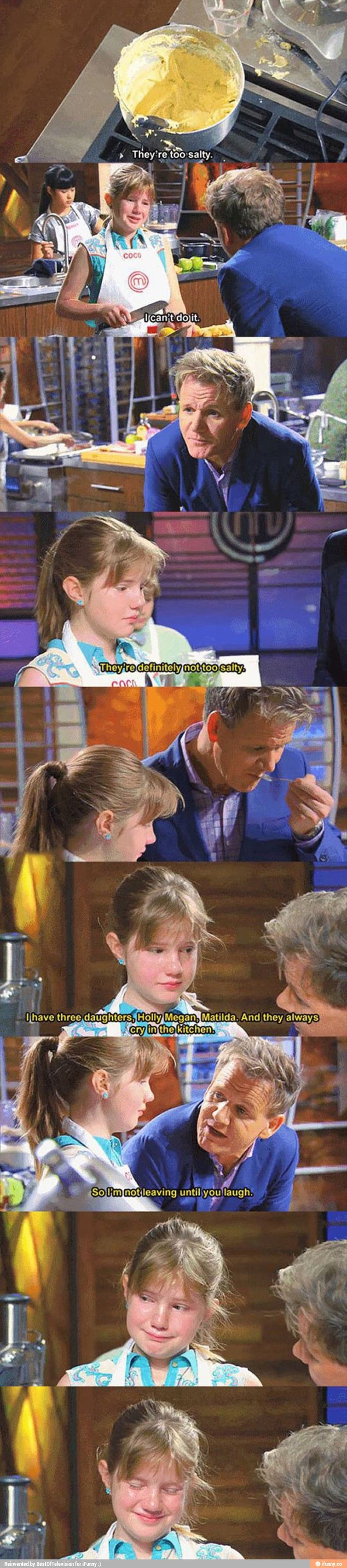 This is so cute. And Gordon Ramsey is so mean to adults but HE IS SO FREAKING NICE TO KIDS