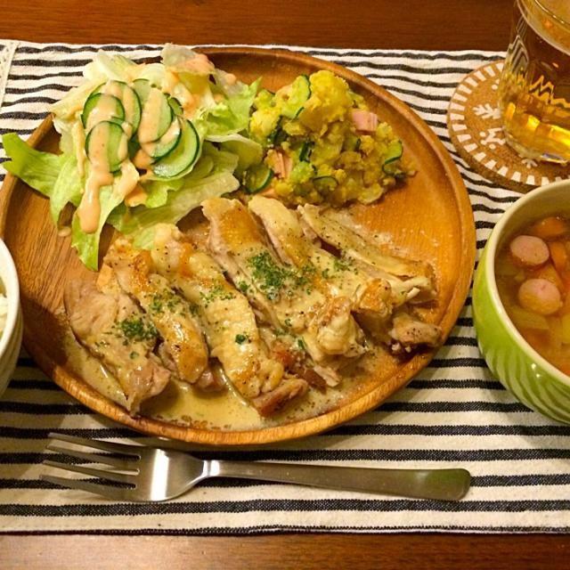大葉と生クリームで濃厚ソース❤️ - 15件のもぐもぐ - パリパリチキンステーキ 大葉クリームソース   カレー風味ポテトサラダ  ゴロゴロ野菜のスープ by hasese