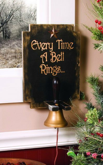 New Primitive Country Christmas EVERY TIME BELL RINGS ANGEL GETS ITS WINGS Sign  #Rustic