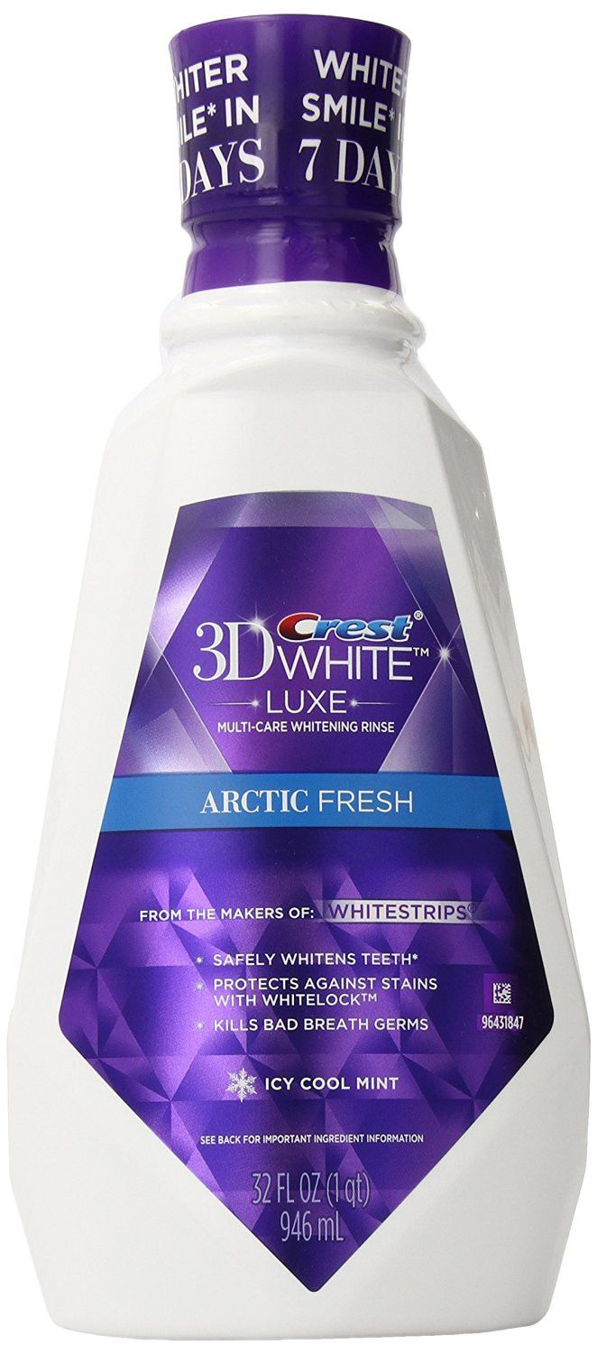 Crest 3D White Luxe Arctic Fresh Multi-Care Whitening Icy Cool Mint Flavor Mouthwash 32 oz