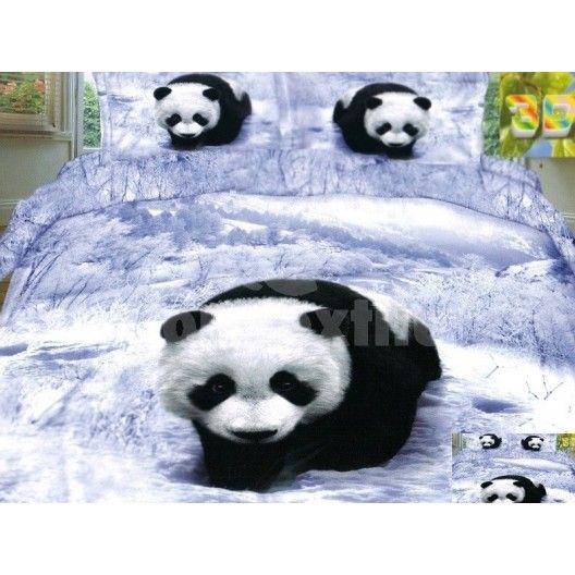 Bielo modré flanelové posteľné obliečky s pandou