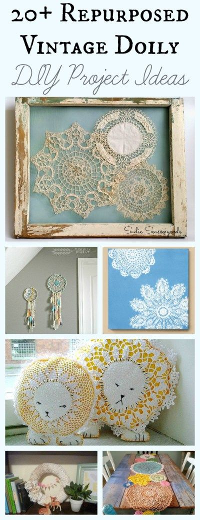 Vintage doilies are a blank canvas just begging to be repurposed or upcycled into any number of things- wall art, pills, hanging baskets, jewelry, handbags, dreamcatchers...you name it! I've compiled more than 20 different DIY craft projects that you can do using vintage doilies. Come get inspired at #SadieSeasongoods / www.sadieseasongoods.com