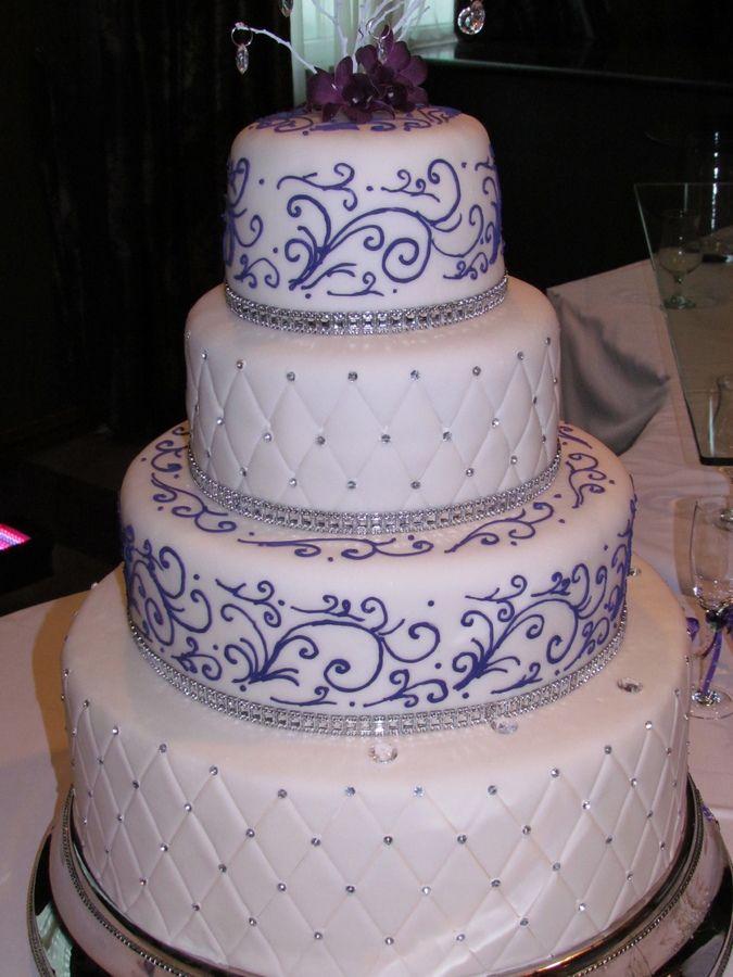Purple design and rain stones detals, 4 tires Wedding cake