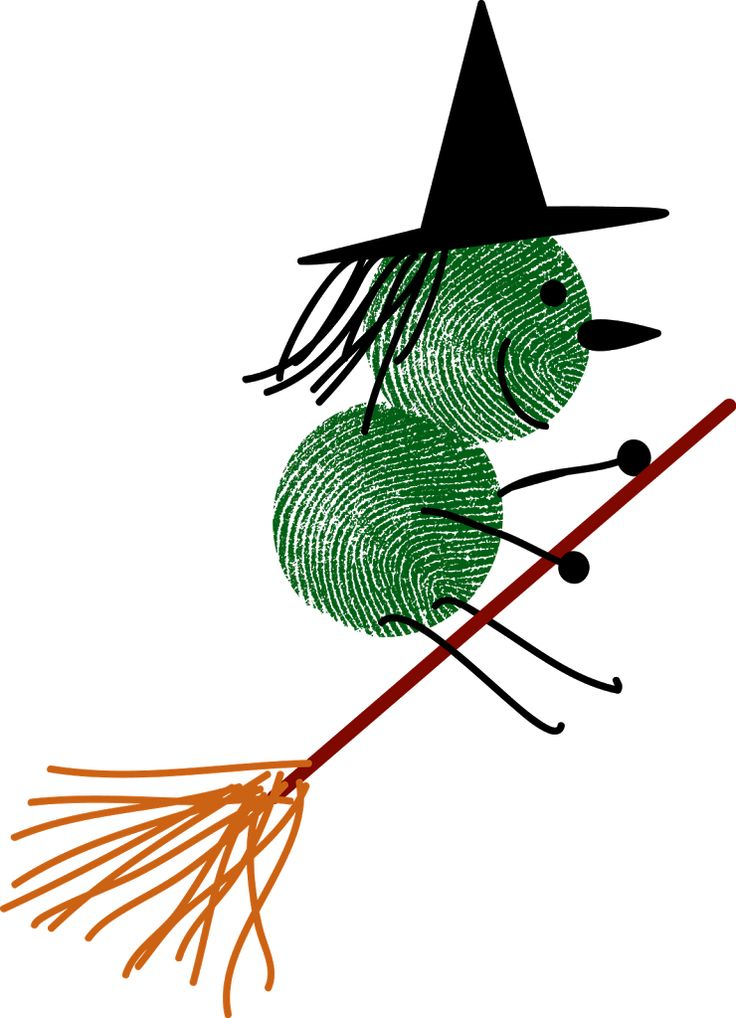 Thumbprint and finger Witch Halloween