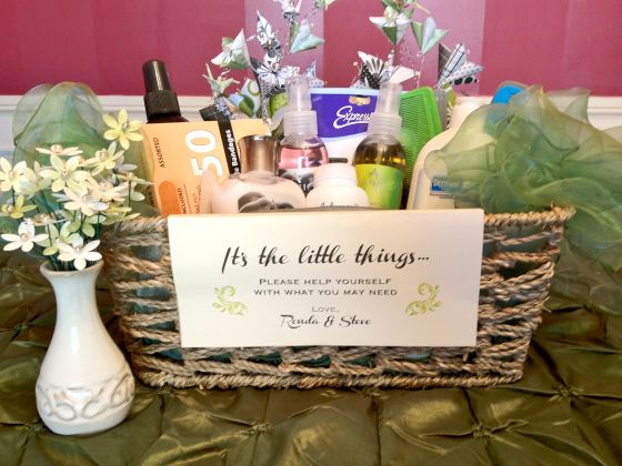 diy bathroom baskets for any style of wedding... always a good idea!