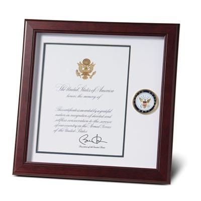 Navy Presidential Certificate Frame with Medallion