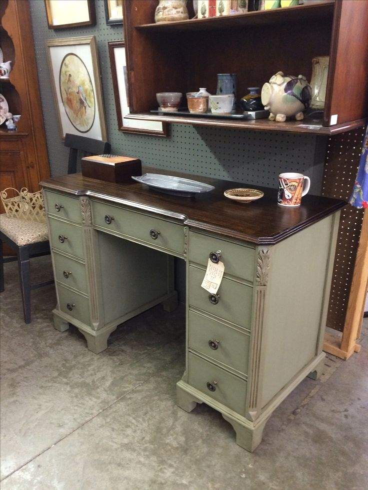 Vintage key-hole desk, painted with Annie Sloan Chalk Paint (Chateau Grey) and waxed with clear & dark wax. Sold.