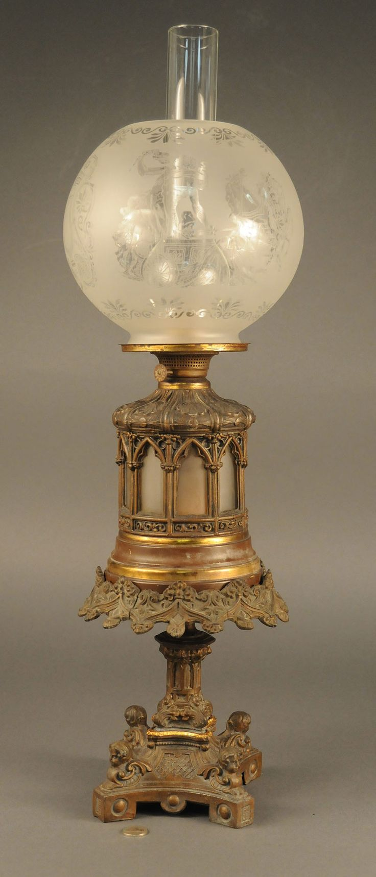 *RARE-VICTORIAN ~ oil lamp etched glass shade with classical scenes. Base has 4 cherubs perched on each corner foot.