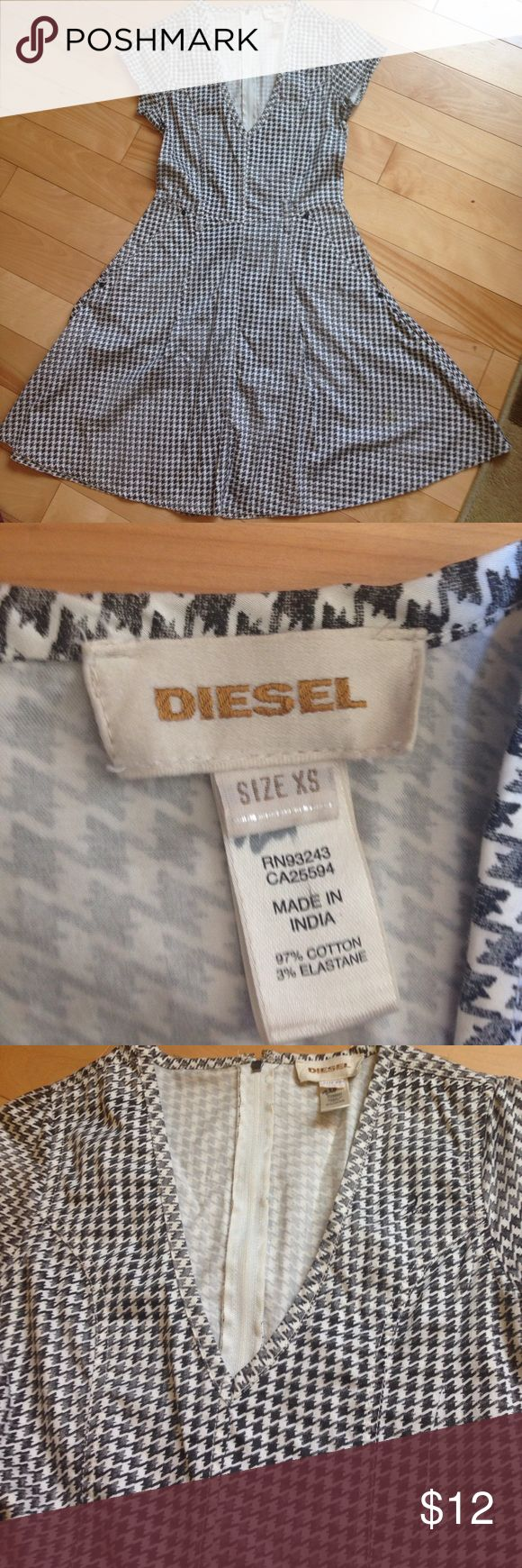 Diesel houndstooth dress Houndstooth dress. Minor coffee spot on bottom of dress , barely noticeable. Diesel Dresses Midi