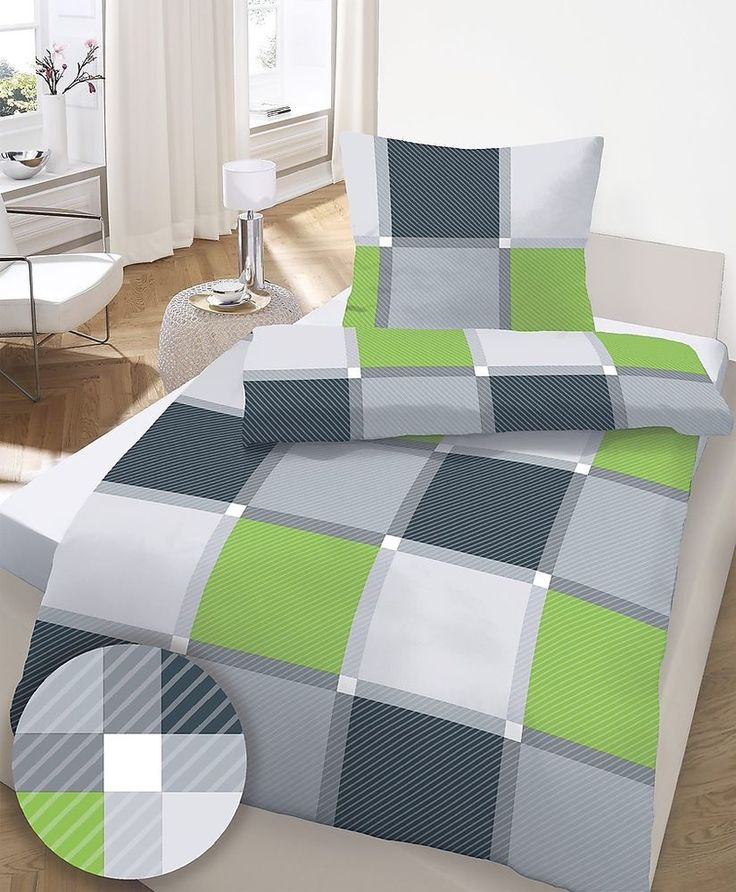 4 tlg Feinbiber Bettwäsche 155x220 cm Karos grün b ware von Ido 1057f