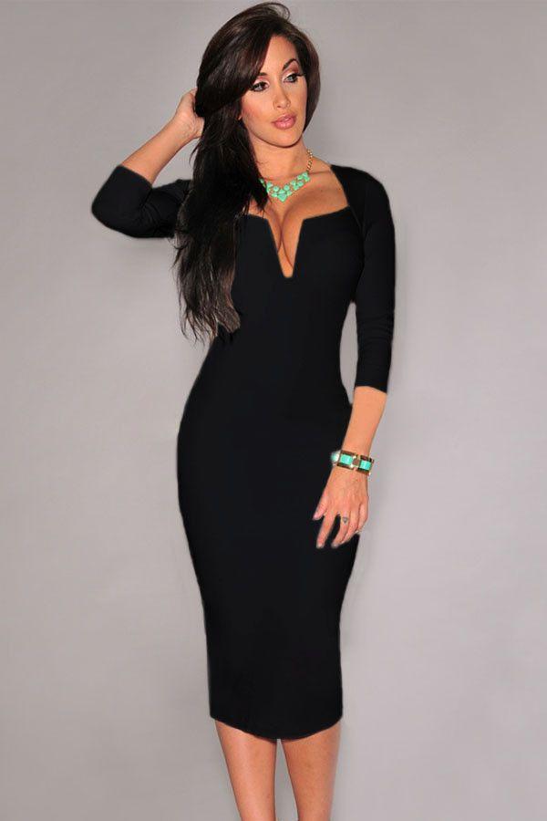 Midi Vestido Negro Liso Escote en V – Malu Fashion