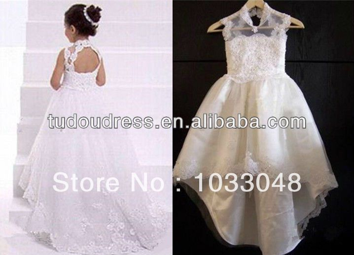 New Arrival Fashion Cute Lovely Kids Little Princess White Lace Birthday Party Flower Girl Pageant Dresses For Weddings 2014 US $55.00
