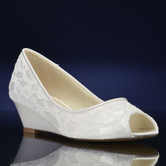 Lace Wedge Wedding Shoes Dyeable Wedding Shoe Lace by Pink2Blue
